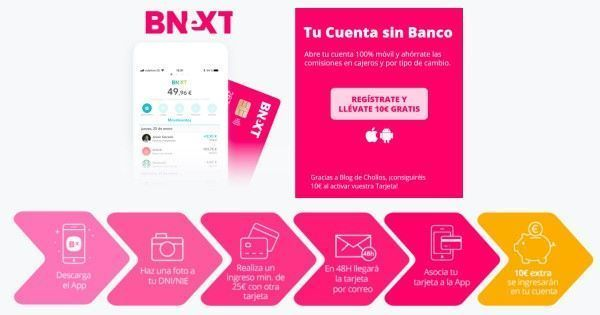 tarjeta prepago de Bnext con 10 euros de regalo