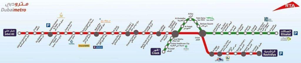 mapa del metro de dubai